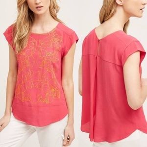 Anthro pink shirt with yellow floral embroidery